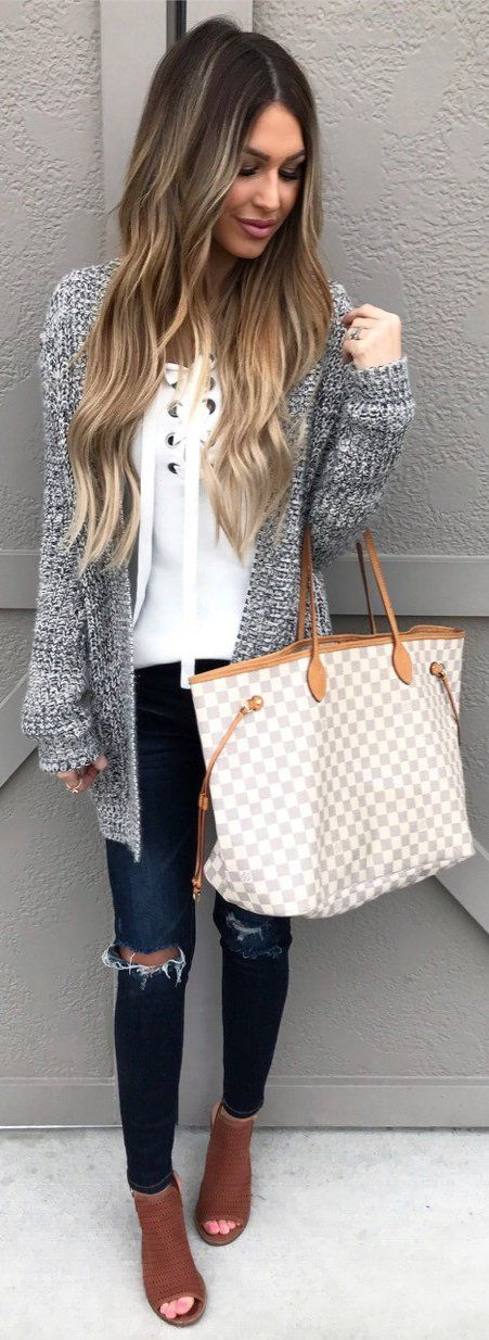 Grey Cardigan / White Laced Up Knit / Navy Destroyed Skinny Jeans / Brown Open Toe Booties