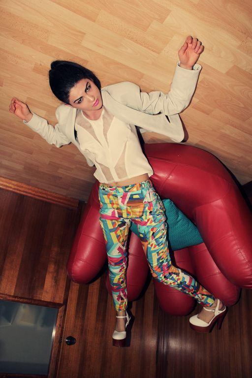 Upside-down Lapel Leather jacket  Geometric Print Pant & Sheer paneled top    Designer: Laura Nadile Photographer : Joshua Bouman  Model : Amy Shapiro