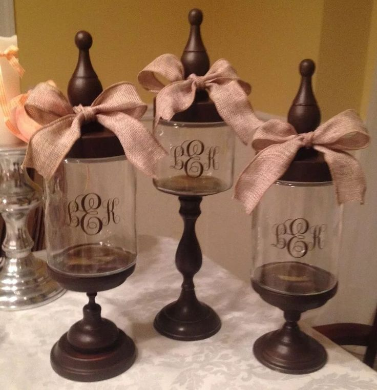 Set Of 6 Personalized Glass Candy Apothecary Jars Wedding Buffet Home New