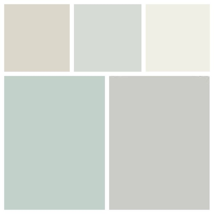 "Current paint colors and ""to do"" paint colors. L-R top: BM balboa Mist ..."