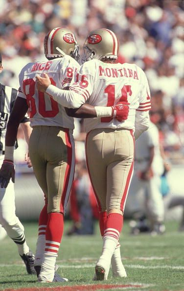 Joe Montana threw for 6 TDs against the Falcons. FIVE of them were to Jerry Rice - the all-time single game record (t). Classic.