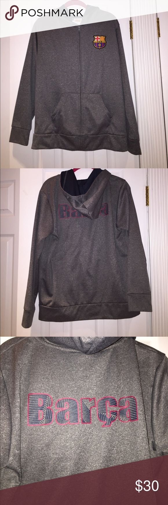 FC Barcelona zip up jacket Great condition worn extremely minimally unisex FC Barcelona jacket. Is a boys XL. But as you can see fits me easily so I would say around size M in woman's. Any questions let me know Jackets & Coats