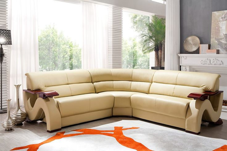 Modern Bonded Leather Sofa Set Furniture In Beige 1623
