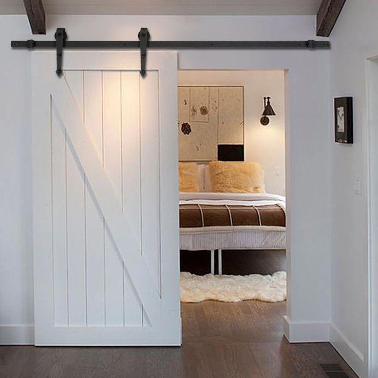 new 6 ft black modern antique style sliding barn wood door hardware closet set goplus