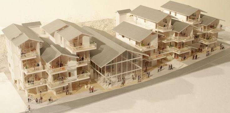 Public housing project in Kamaishi,  maquette, architectural model, maqueta, modulo