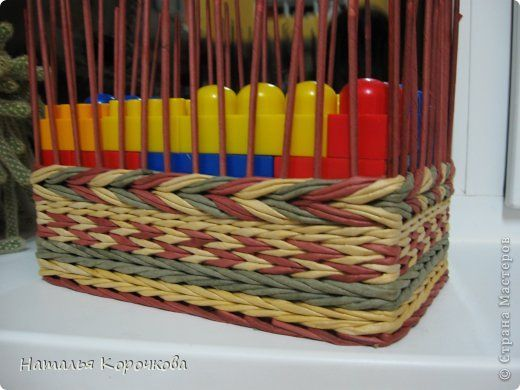 What a great idea! Use building blocks to maintain shape when weaving. Adjustable to size and you can raise the height as you go.