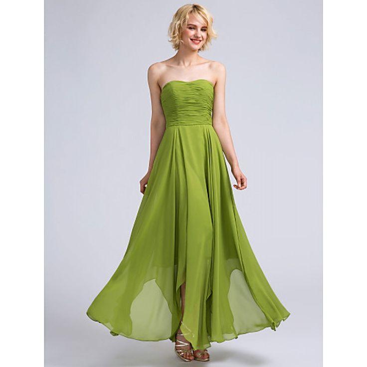 2017 Ankle-length Chiffon Bridesmaid Dress A-line Strapless with Ruching #bridesmaid #bridesmaiddress #chiffonbridesmaid #bridalfeel Coupon Code: Coupon code: 2017code 10% discount on any order from bridalfeel.co.nz See More Dress==>>https://goo.gl/oqzrZy