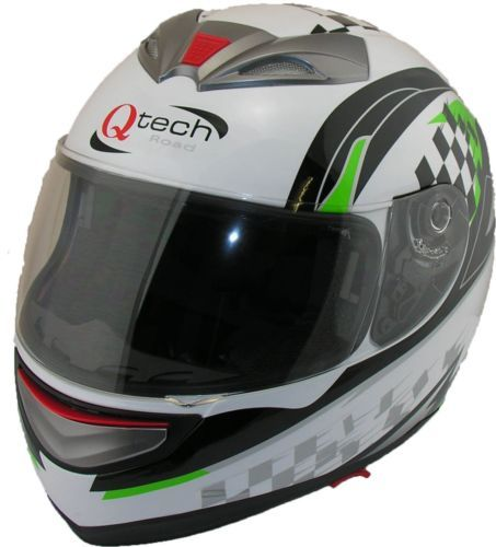 Full-FACE-Road-Legal-Helmet-by-Qtech-Motorcycle-Motorbike-Scooter-GREEN-White  £32.95