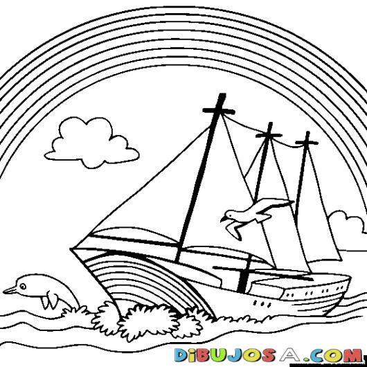 Arcoiris En El Mar Sobre Un Barco De Vela Para Pintar Y Colorear | COLOREAR DIBUJOS VARIOS | Arcoiris En El Mar Sobre Un Barco De Vela Para Pintar Y Colorear | dibujosa.com