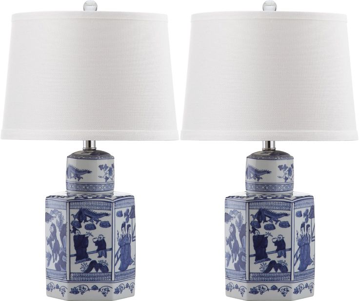 Set of Two Safavieh Blue and White Ceramic Asian Lamps - OUT OF STOCK