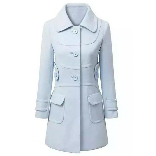 Elegant Style Turn-Down Collar Long Sleeve Solid Color Slimming Women's Coat, LIGHT BLUE, L in Jackets & Coats | DressLily.com