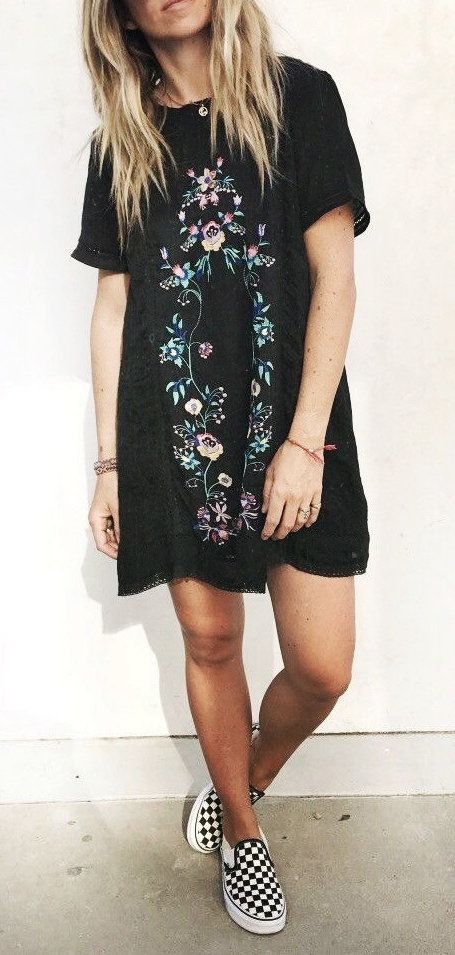 #fall #outfits women's black floral crew-neck mini dress