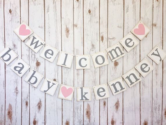 Welcome Baby Banner // Baby shower decor // baby shower sign // girls baby shower // welcome baby sign // princess baby shower //
