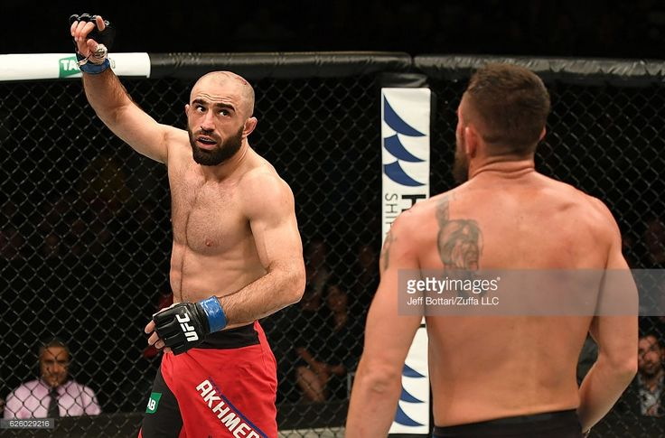 Omari Akhmedov of Russia reacts after the conclusion of his welterweight bout against Kyle Noke of Australia during the UFC Fight Night event at Rod Laver Arena on November 27, 2016 in Melbourne, Australia.