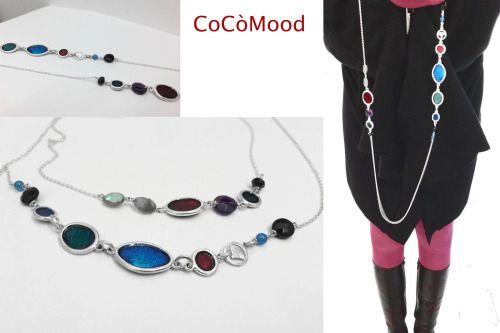 CocòMood, 2015. Necklace, silver925, enamel, black onix, amethyst, blu agate, labradorite.