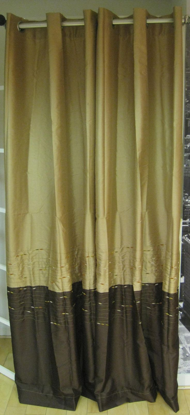 Curtain pair overstock shopping great deals on lights out curtains - Horizon Embroidered Grommet 95 Inch Curtain Panel Grommet Curtainscurtain Panels
