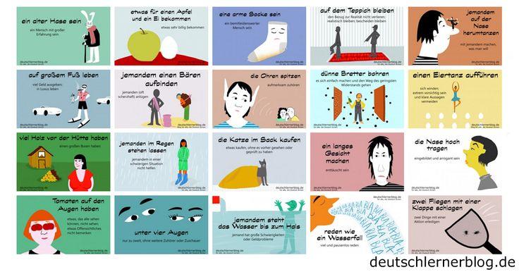 Lernt deutsche Umgangssprache und Redewendungen mit Bildern. Wunderbare Illustrationen machen das Lernen und Behalten ganz einfach.