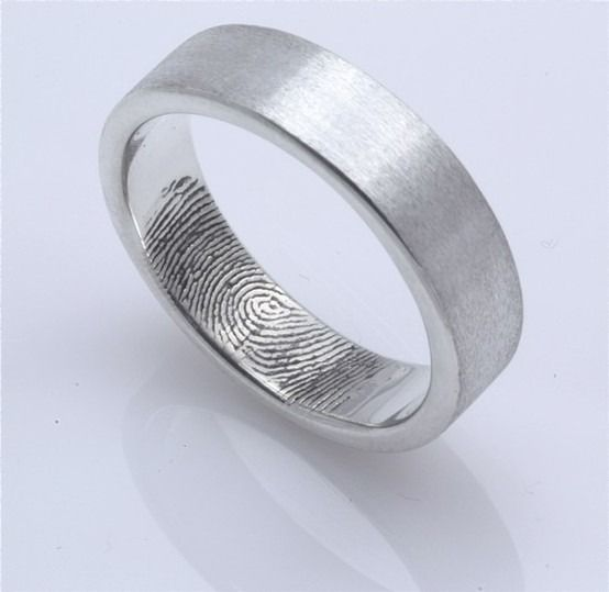 What a great idea.  Guys ring, girls print: Fingerprints Inside, Wedding Ring, Weddings, Cute Ideas, Fingers Prints, Cool Ideas, Wedding Bands, Rings, Bride