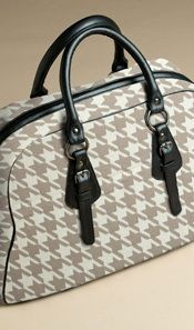LUXURY COTTON KNIT BAG -STONE/NATURAL HOUNDSTOOTH