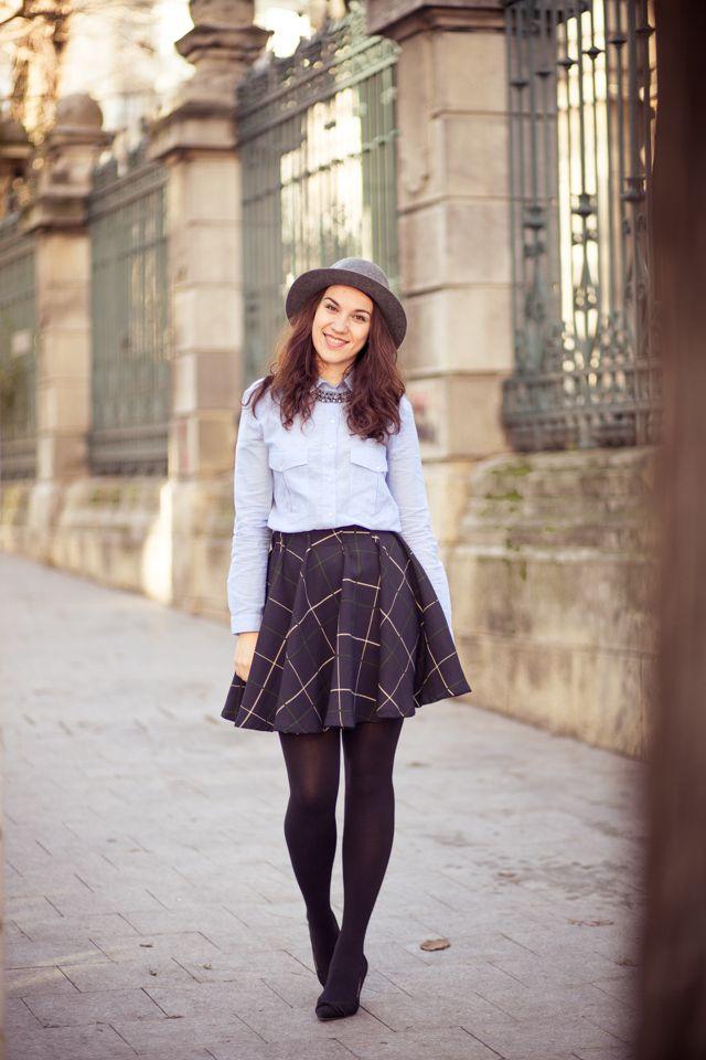 preppy hat personal style circle skirt dresssidestory