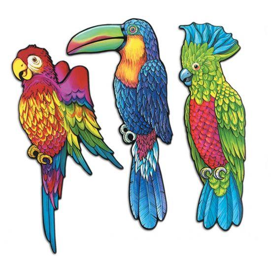 Hawaii wanddecoratie tropische vogels 3 stuks. Tropische vogel wanddecoratie, dubbelzijdig bedrukt. Elke vogel is ongeveer 43 cm groot.