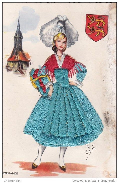 Normandie - Carte brodée - Tissu - Normande - Femme en costume traditionnel - Folklore - Blason - Héraldique