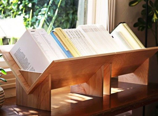 Looks like a simple DIY for tabletop book storage. Nice for oversized books, I would think.