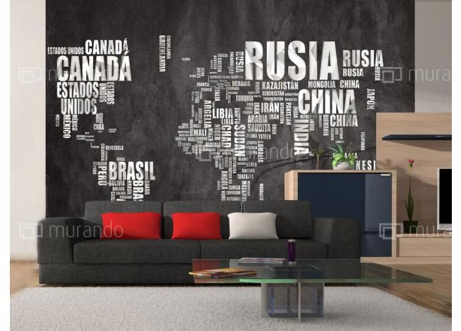 Mapa s názvy měst Fototapeta  #homedesign #mapa #interierdecor