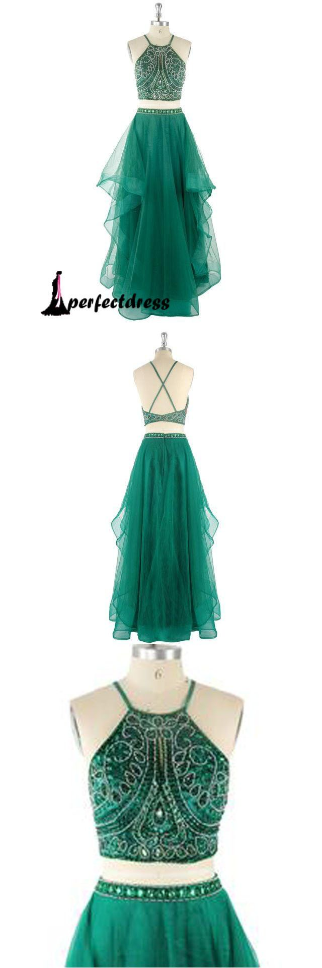Green two pieces lace long prom dress, lace evening dresses,PD4558917   #promdress #fashion #shopping #dresses #eveningdresses #2018prom