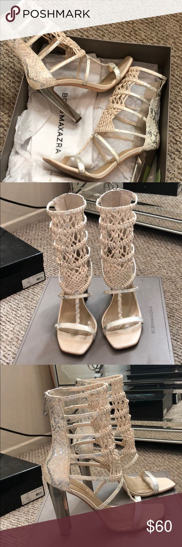 BCBG MAXAZRIA Caged sandal Super cute caged sandal with macrame detail and silver chunky heel. Zipper in back of heel. Genuine leather. Original box included. NO TRADES BCBGMaxAzria Shoes Sandals