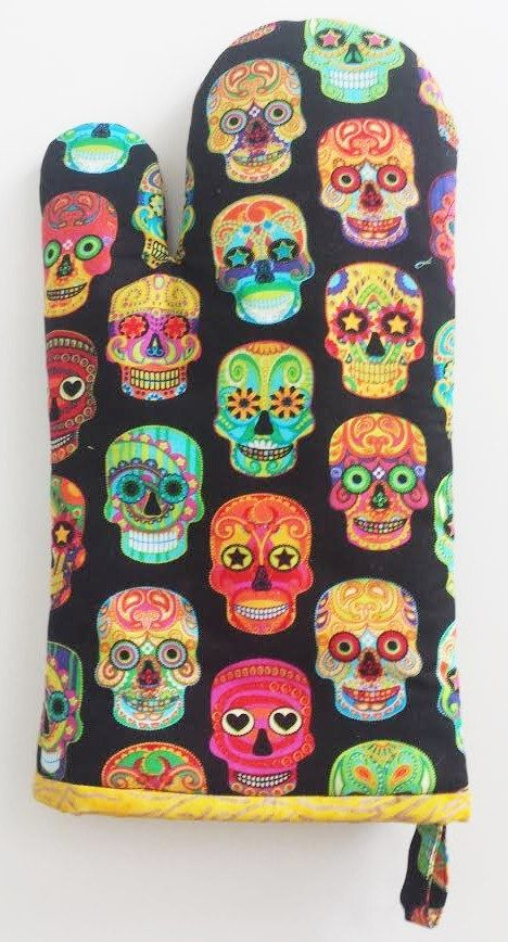 Sugar Skull Full Color Pair of Oven Mitts, Insulbright Lined, Chef, Cookware, Kitchen Accessory by quiltpatternsandmore on Etsy