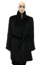 Women's Mink Knit Black Full Coat With Belt - Large