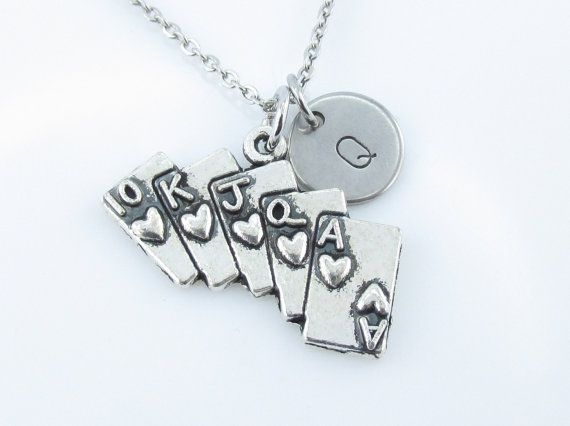 Poker Cards Necklace, Royal Flush, Ace of Hearts, Initial Necklace, Monogram Initial Letter, Playing Cards Charm, Casino Charm Necklace Y199