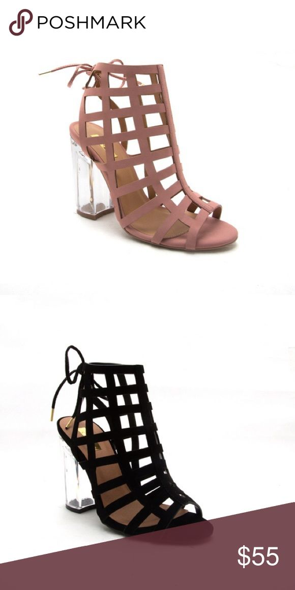 Ladies high top backless clear heels sandal. Plush Very stylish sandal for ladies, peep toe, backless, back lace, clear heels high top sandal. Heels around 3 inches, true to size. Mauve color( black color is available in different listing). True to size. New in box. NO TRADES shoeroom21 boutique Shoes Heels