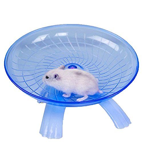 Small Animal Comfort Exercise Wheel Toy Silent Spinner for Pet Syrian Hamsters Rat Gerbil Mice Chinchilla Guinea Pig Squirrel (Blue)