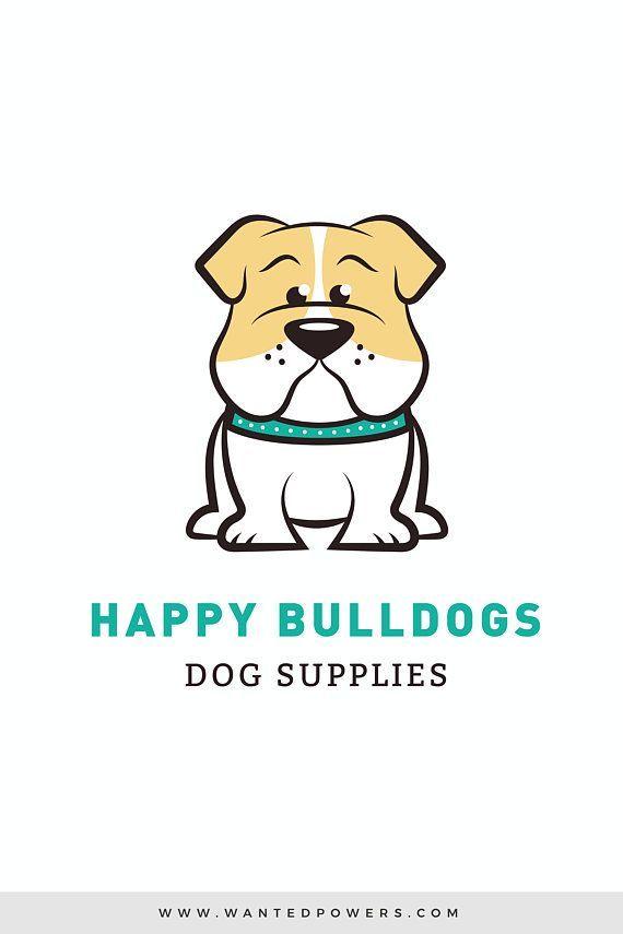 Cute Sitting Bulldog Logo Custom Pre Made Logo Design Pet Etsy In 2020 Bulldog Animal Logo Logo Design
