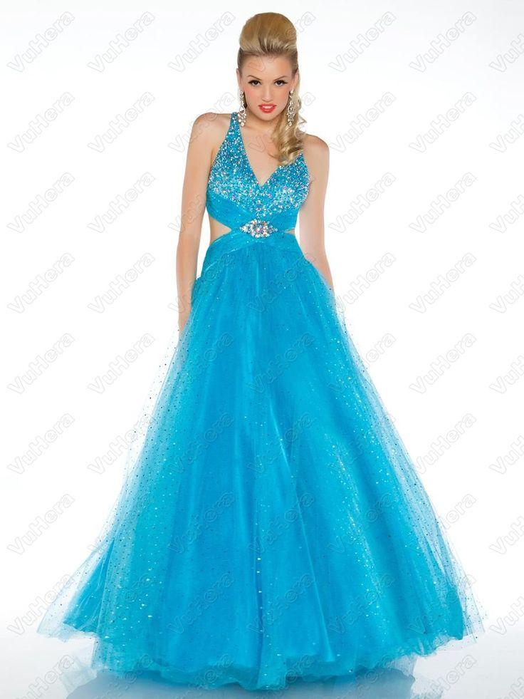 V-Neck Blue Floor Length Blue Prom Dress