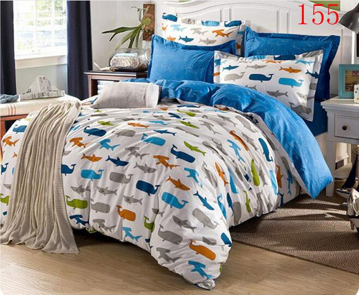pas cher lits complet reine requin baleine coton draps. Black Bedroom Furniture Sets. Home Design Ideas