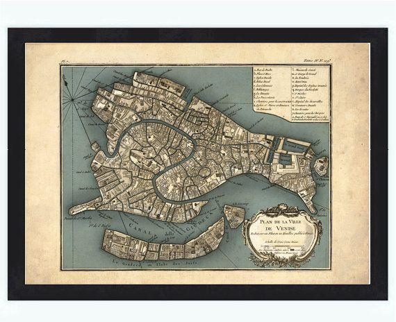 Antique Map of Venice Venetia Venezia 1764 by OldCityPrints, $32.00