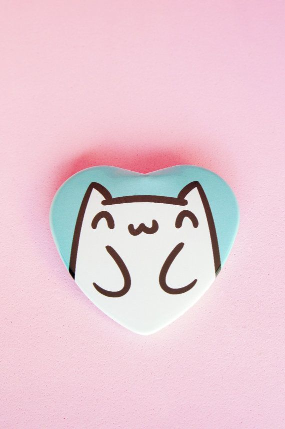 Happy Cat 2 Inch Heart Shaped Pinback Button by thepinksamurai