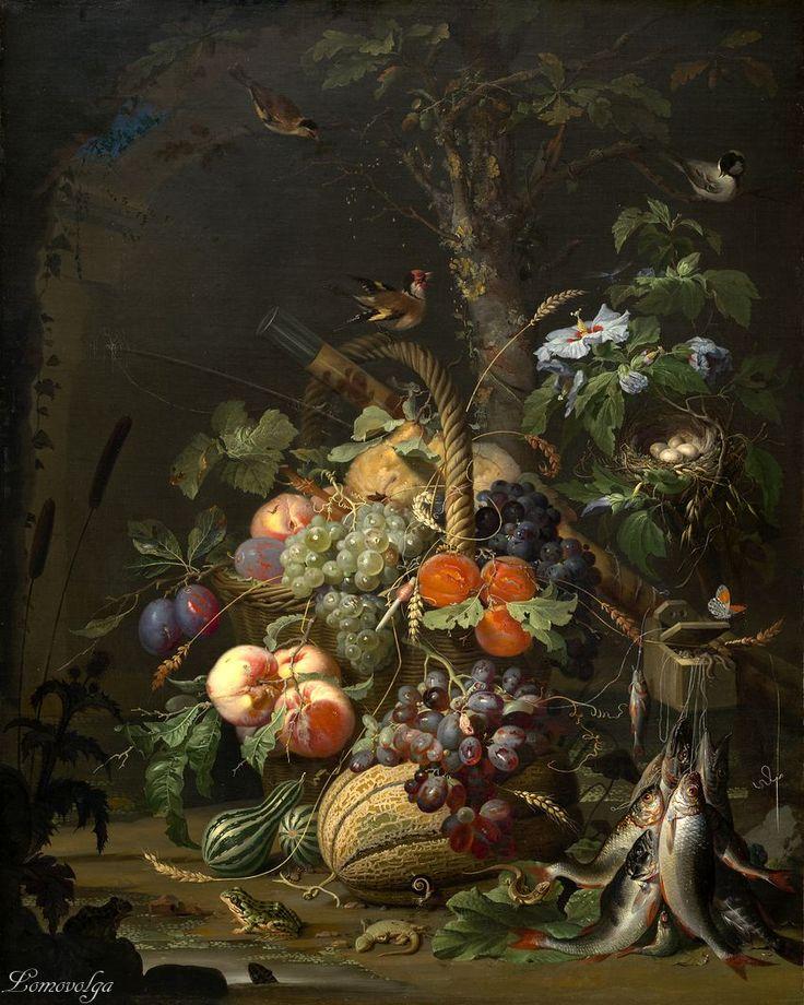 Абрахам Миньон (1640-1679) Натюрморт с фруктами, рыбой и гнездом (Still Life with Fruit, Fish and a Nest) Около 1675. Холст, масло, 94 x 73.5 см. Национальная галерея искусств, Вашингтон