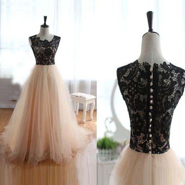 Blush Prom Dresses Long Real Photo Black Lace Top vestido de festa longo Pink Ball Gown Women Party Dresses CS627