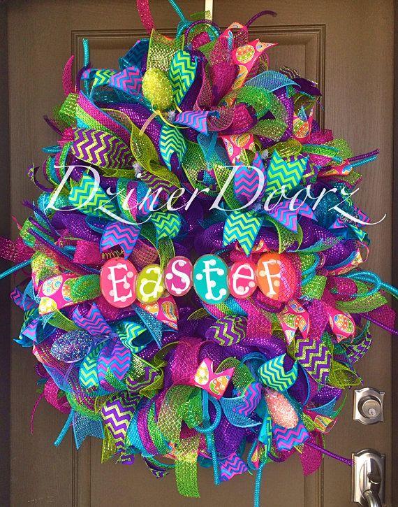 Whimsical Easter Egg deco mesh Wreath
