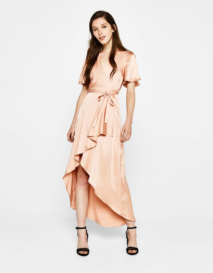 Sateen wrap dress. Discover this and many more items in Bershka with new products every week