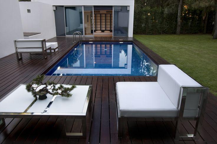 Sofas terraza acero inoxidable pulido con tela nautica for Sofa tela nautica
