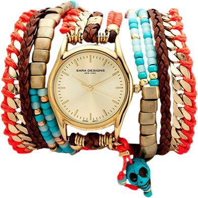 SARA DESIGNS MAASAI WRAP WATCH -- OBSESSED with red and turquoise + skull wrap watch. Dear santa?