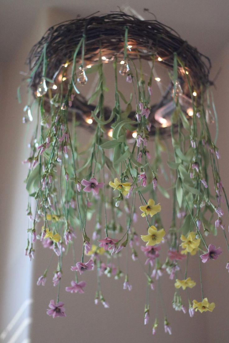Nursery Room Wildflower Chandelier Mobile Night Light by ScarlettsRose on Etsy https://www.etsy.com/listing/453986592/nursery-room-wildflower-chandelier