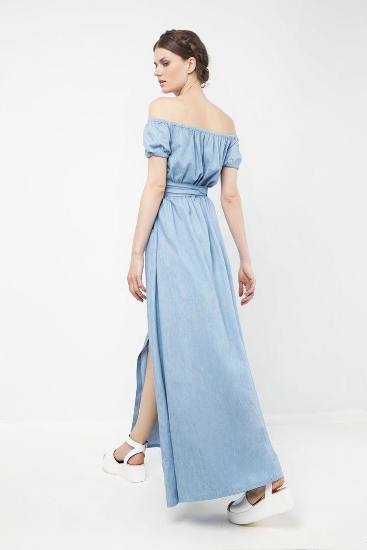 Φόρεμα μάξι τζιν με κουμπιά