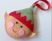 Ernie the Christmas Elf Felt Hanging Decoration/Ornament x1