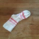 Witte meisjessok met roze strepen